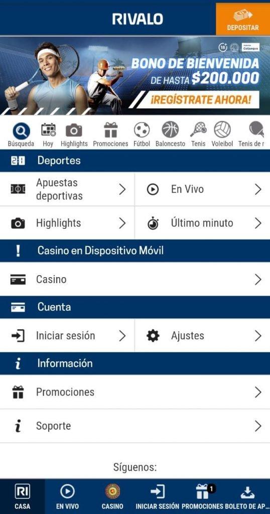 Versión móvil de Rivalo Apuestas. Rivalo Colombia todavía no tiene una Rivalo App.