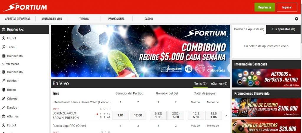 Home de Sportium Apuestas Colombia en su espacio para apuestas deportivas.