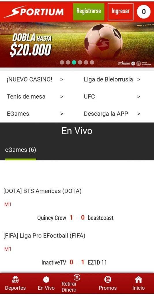 Versión móvil de Sportium Apuestas en Colombia.