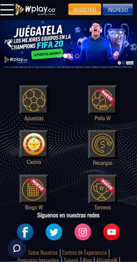 Apuestas Wplay: versión móvil de Wplay Apuestas Colombia.