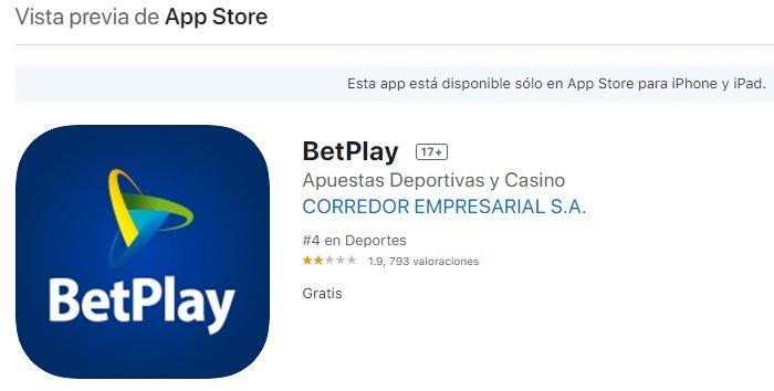 Betplay Apuestas. Betplay App para iOS.