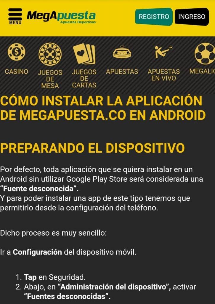 MegApuesta App. Disfruta de la aplicación móvil MegApuesta Colombia desde tu Android.