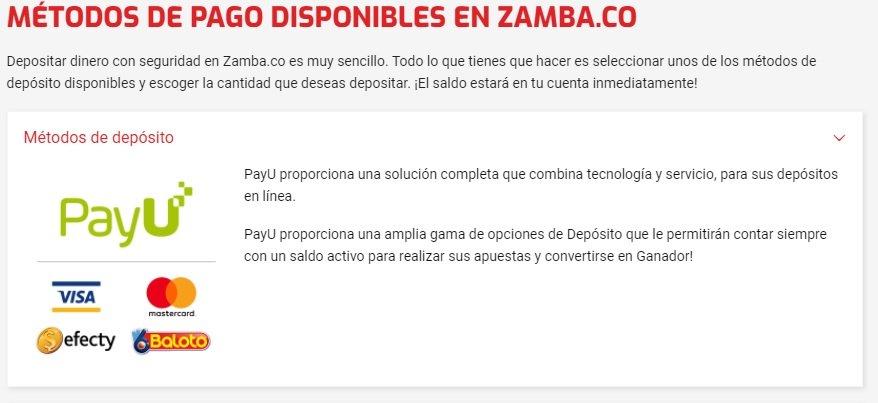 Zamba Apuestas. Recargar y retirar en Zamba.