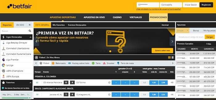 Oferta de apuestas Betfair Colombia.